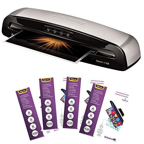 Fellowes A3 Home Office Laminiergerät Saturn 3i für 80-125 Micron Folien, 60 Sek. Aufwärmzeit, staufreies Laminieren, BONUS PAKET mit 100 Folien