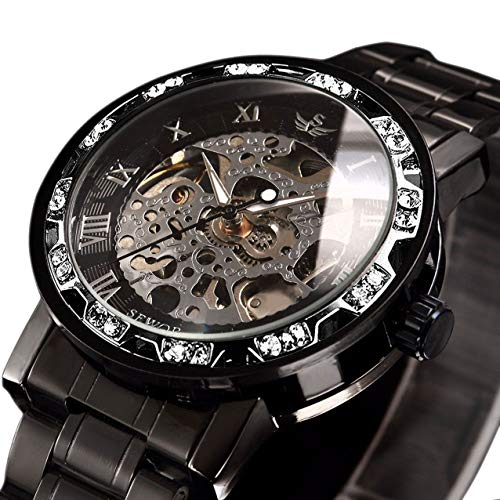 Watches, Men's Watches Mechanical Hand-Winding Skeleton Classic Business Fashion Stainless Steel Steampunk Dress Watch Black