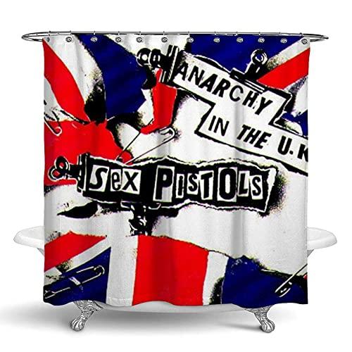 Duschvorhang aus Form/Polyester, Sex Pistols Anarchie UK-Flagge für Badezimmer Duschen & Badewannen, wasserabweisend, Fenstervorhang