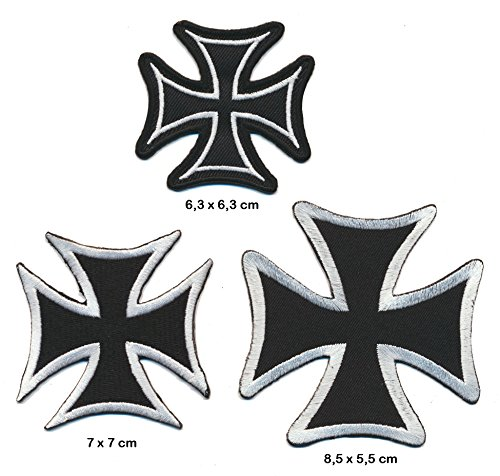 WEHRMACHTKREUZ Aufnäher Aufbügler Patch 3 Stück Motorrad Biker Kutte black silver