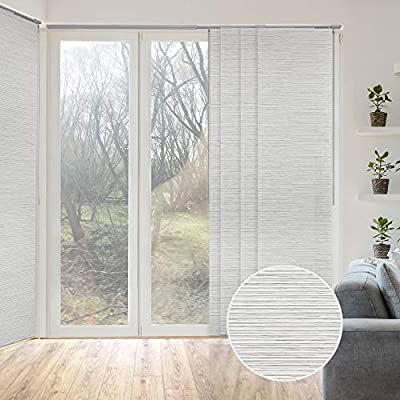 """GoDear Design Deluxe Adjustable Sliding Panel Track Blind 45.8""""- 86"""" W x 96"""" H, Extendable 4-Rail Track, Trimmable Natural Woven Fabric, Marble"""