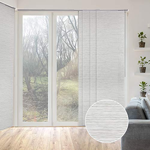 GoDear Design Deluxe Adjustable Sliding Panel Track Blind 45.8'- 86' W x 96' H, Extendable 4-Rail...