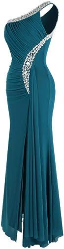 BINGQZ Robe Casual Cocktail Robe Perlage Robe de Soiree drapee Plisse Une Epaule Robe de soirée Robe 411 Vert
