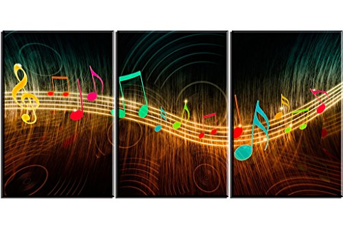 PIY Music Notes Canvas Prints with Frame for Bedroom, Beautiful Notes Beating on Staff Picture Wall Art, 1