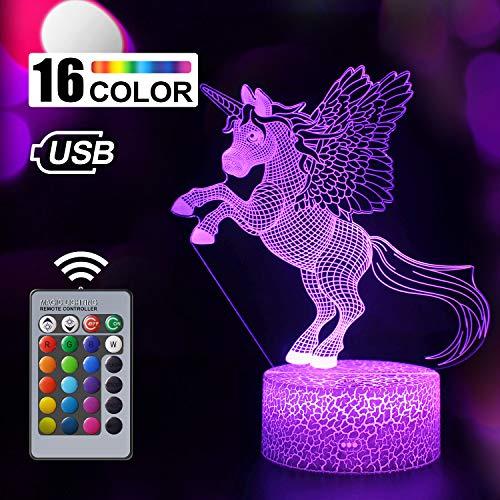 Einhorn Geschenk Einhorn Nachtlicht für Kinder, 3D Licht Lampe 7 Farben ändern mit Remote Urlaub und Geburtstagsgeschenke Ideen für Kinder (Einhorn 9)