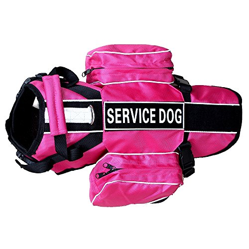 haoyueer Service Dog Backpack Harness Vest Removable Saddle Bags with Label Patches(Hot Pink,L)
