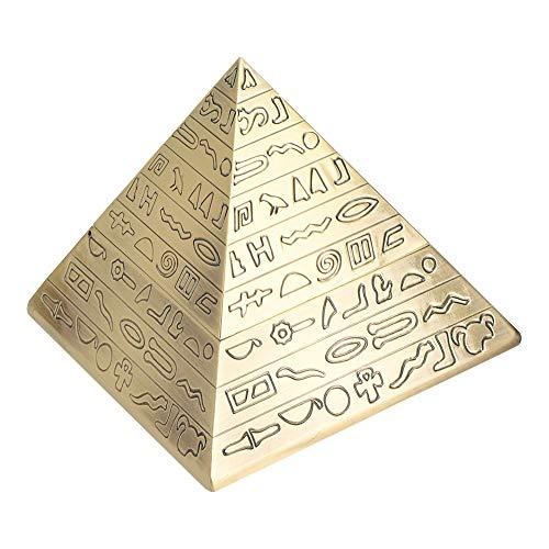Aoutecen Cenicero Retro con Cubierta Cenicero piramidal Creativo Vintage Forma de pirámides egipcias para decoración de Mesa Regalo Masculino Adornos de Oficina(Bronze)