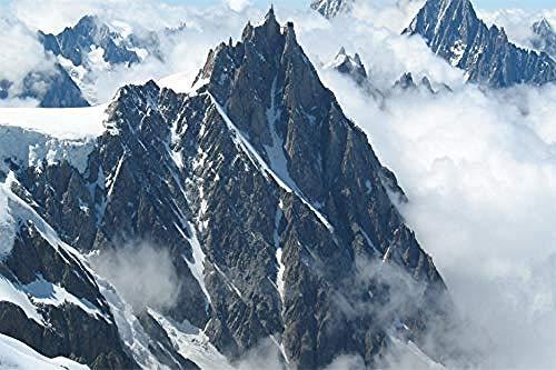Hxfhxf Digital-DIY Ölgemälde auf Leinwand Geschenk für Erwachsene Mont Blanc Berge Malen nach Zahlen Leinwand Kits Leinwand Unframed 40x50cm