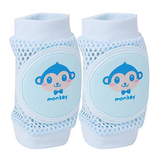 Rodilleras para bebé Dauerhaft para gatear, rodilleras de malla suave y transpirable, protectores ajustables para bebés, 2 pares(Azul)