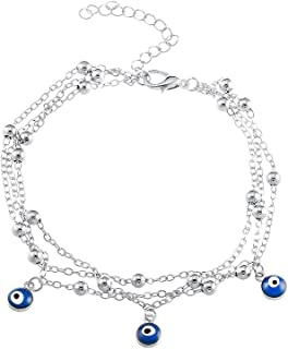 MISSU JEWELLRY Blue Evil Eye Charms Anklet Bracelet Silver Beads 3 Layers Foot Chain for Girls