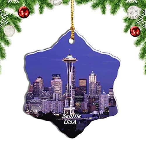 Weekino USA America Space Needle Kerry Park Seattle Christmas Ornament Travel Souvenir Tree Hanging Pendant