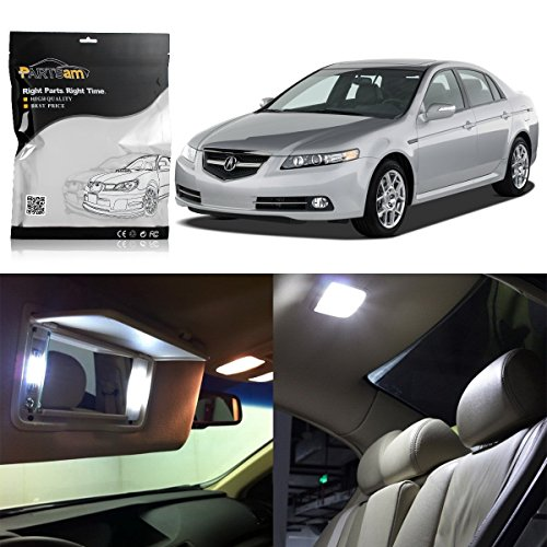 Partsam LED Interior Package Light Kits + License Plate Light Compatible with Acura TL 2004 2005 2006 2007 2008 (12 Pieces/White)