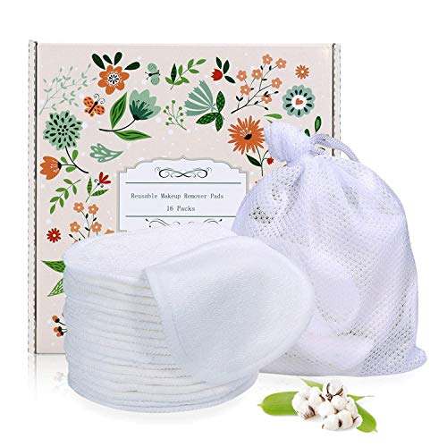 Reusable Makeup Remover Pads 16 Packs, Organic Bamboo Cotton Rounds,Reusable Cotton Pads for Face Wipes with Laundry Bag