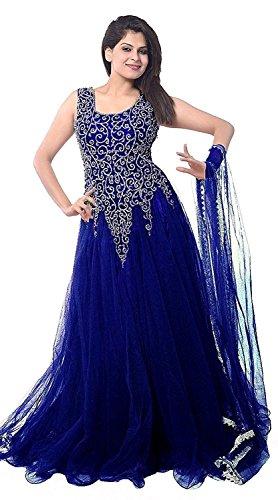VintFlea 'Womens modisches Netzkleid' mit Stickerei, halbgenäht, Anarkali-Anzug, indischer Ethno-Look, für Hochzeitskleidung & gelegentlich, freie Größe - Blau