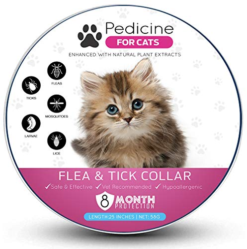 Pedicine Cat Flea Collar (2 Pack) for Flea and Tick Treatment and Prevention | One Size Fits All, Collars Work for Cats, 100% Natural