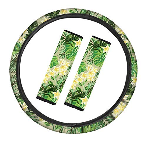 LEJIA Steering Wheel Cover Set Scattering Palm Leaf Lily of The Valley Print,Safe Non Slip Neoprene Material Stretch-on Fabric Steering Wheel Cove car accessories
