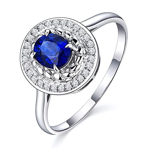 Amody Anillos de Matrimonio Oro Blanco, Anillo Compromiso Elegante Redonda 4 Clavijas 0.5ct Zafiro con Diamante Tamaño 23,5