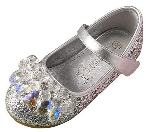 DEMU prinses schoenen met hak meisjes kostuum ballerina pailletten feestelijk sandalen Innelänge 18.5cm zilver
