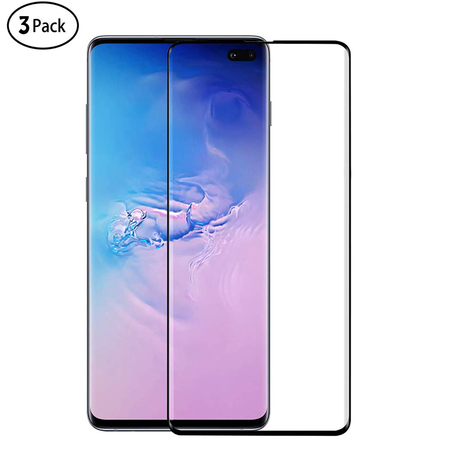 Galaxy S10 Plus Screen Protector, Dooge (3 Pack) [Fingerprint ID Compatible] [Case-Friendly] [3D Coverage] [Scratchproof] Clear HD Full Coverage Protector Glass for Samsung Galaxy S10 Plus