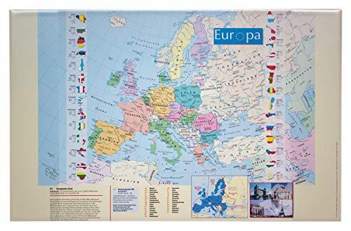 Idena 14013 - Schreibunterlage aus Kunststoff mit zwei Einstecktaschen, Europakarte, ca. 68 x 44 cm, Zubehör für Büro, Kinder- und Arbeitszimmer, abwaschbar