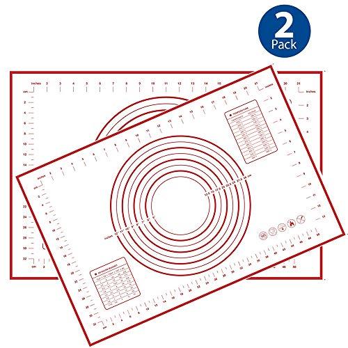 Silikon-Backmatte rutschfest mit Messung, Fondant, Thekenmatte, Teigrollmatte, Backofeneinsatz, Tortenunterlage 2PCS 16''(W)24''(L) rot