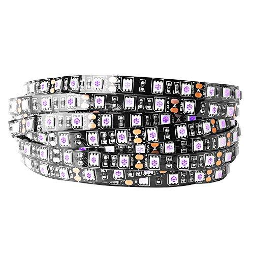 BTF-LIGHTING Luz negra UV 16.4 ft / 5m Tira de 300 LED, 5050SMD Ultravioleta 395nm-405nm Luz de rayos Flexible Lámpara de iluminación púrpura 12V IP30 Negro PCB