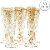 Matana 50 Copas Flautas de Champán de Plástico, Vasos Desechables de 5 oz (150 ml) - Brillo Dorado - Elegante, Resistente y Reutilizables - Ideal para Bodas, Fiestas, Cócteles, Cumpleaños.