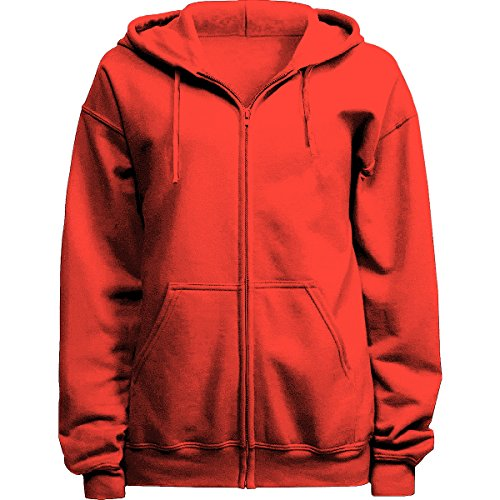 Licensed Mart Unisex Basic Zip Up Hoodie Sweatshirt 4010, Coral, XL