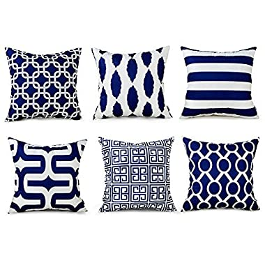 Top Finel Decorative Throw Pillows Cushion Covers Square Pillowcases Soft Brushed Microfiber For Sofa Set of 6 Size 18 x 18 Inch,Navy