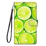 Miagon Full Body Flip PU Leder Schutzhülle für Samsung Galaxy S5,Bunt Muster Hülle Brieftasche Case Cover Ständer mit Kartenfächer,Zitrone