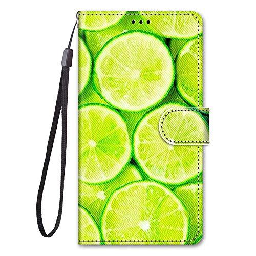 Miagon Full Body Flip PU Leder Schutzhülle für Huawei P10 Lite,Bunt Muster Hülle Brieftasche Case Cover Ständer mit Kartenfächer,Zitrone
