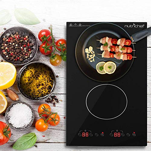 Dual 120V Electric Induction Cooker - 1800w Portable Digital Ceramic Countertop Double Burner Cooktop w/Countdown Timer - Works w/Stainless Steel Pan/Magnetic Cookware - NutriChef