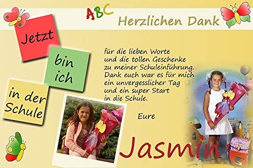 15 Individuelle Fotokarten als Dankeskarten zur Einschulung, Danksagung ESD09, im Format 10x15 cm inkl. hochwertigem farbigen C6 Umschlag