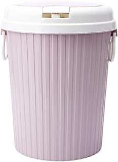 C-J-Xin Paper Trash Can, Plastic with Lid Storage Trash Can Large Trash Can Living Room Kitchen Trash Can Office Bathroom ...