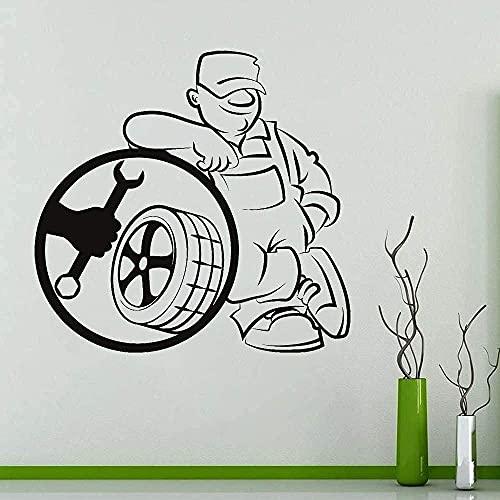 Etiqueta De La Pared Reparación De Neumáticos De Coche Etiqueta De La Pared Decoración De Garaje Etiqueta De La Ventana Mural Impermeable 57X60Cm