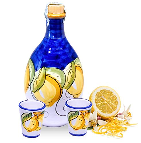 Hand-painted Jar 'LEMON' filled with Limoncello of Sorrento (Made in Italy) with n° 2 Glasses