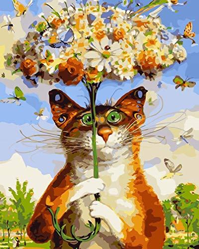 Awesocrafts Malen nach Zahlen-Kit, Katze und Blumen, Regenschirm, Schmetterlinge, Zahlen-Gemälde für Erwachsene und Kinder, 40,6 x 50,8 cm, gerahmt oder nicht (Katze, kein Rahmen)