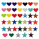 40 Pieces Star Heart Iron on Patches, Multicolor Embroidered Appliques Including 20 pcs Mini Heart Patches and 20pcs Small Star Patches for Clothing Jackets Jeans DIY Decorations