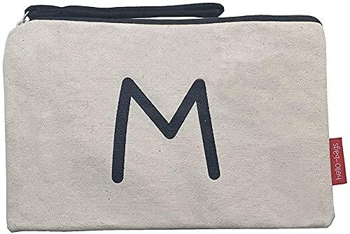 Hello-Bags. Bolso Neceser/Cartera de Mano. Algodón 100%. Modelo M. Blanco. con Cremallera y Forro Interior. 23 * 15,5 cm. Incluye Bonito sobre Kraft de Regalo.