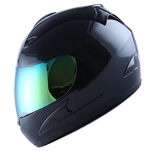 Motorcycle Full Face Helmet Street Bike Adult Carbon Fiber Black + Bonus: One Clear Lens