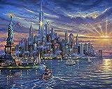 DIY Pintura al óleo por números Kits Puesta de sol paisaje de la ciudad de nueva york Lienzo Regalo para adultos Niños Cumpleaños Boda nuevo alojamiento o decoraciones navideñas