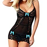Lace Lingerie Womens Cute Bowknot Sexy Babydoll Naughty for Sex Spice Racy Underwear Hollow Out Sexy V Neck Nightdress