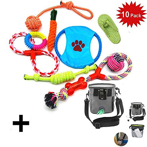 WoBoSen 10 PCS Perro Mascota Juguetes Interactivos, Cuerdas de Nudo, Bolas, Zapato, Disco de Vuelo, Bola de Risa Juguetes Interactivos Conjunto con el Saco de Bolsa de Entrenamiento de Tratamiento