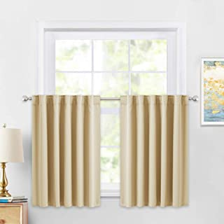PONY DANCE Beige Valances Tiers - Rod Pocket Room Darkening Small Curtains for Half Cafe Windows/Kitchen/Bathroom, 42 W x 36 inches L, Biscotti Beige, Double Panels