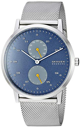 Skagen Men's Kristoffer Multifunction Quartz Stainless Steel and Mesh Casual Watch Color: Stainless, Blue (Model: SKW6525)