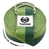 Tumaz Cinturón de Yoga/Correa Yoga [15+ Color, 180/240/300 cm] Hebilla Anillo-D Ajustable Extra...