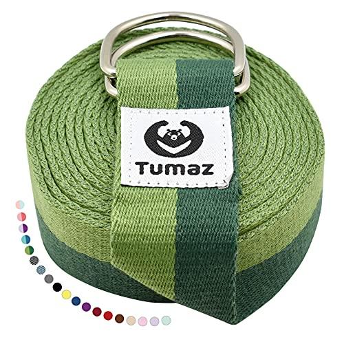 Tumaz Yoga Gurt/Yoga Strap [15+ Farben, 180/240/306 cm] Baumwolle mit Extra Sicherer, Einstellbarer D-Ring-Schnalle, Langlebiger und Bequemer, Zarter Textur – Perfekt für Dehnen und Fitness