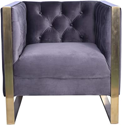 Limari Home Orlando Collection Modern Style Velvet Upholstered Living Room Accent Chair With Tufted Backrest & Stainless Steel Legs, Grey & Gold