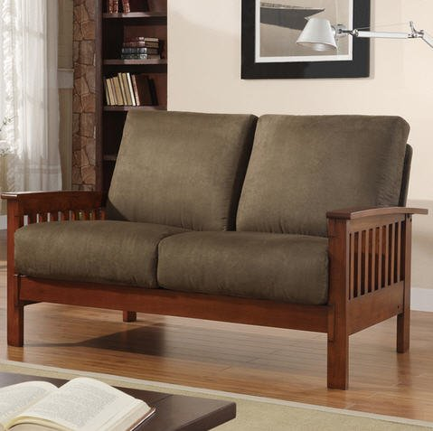 Tribecca Home Hills Collection Oak and Olive Loveseat