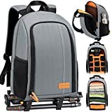 TARION Camera Backpack Waterproof Camera Bag Large Capacity Camera Case with 15 Inch Laptop Compartment Rain Cover for Women Men Photographer Lens Tripod Grey